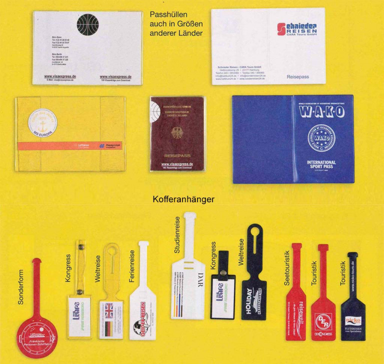 Unsere Angebote für Touristiker – Kofferanhänger, Flugscheinhüllen und mehr